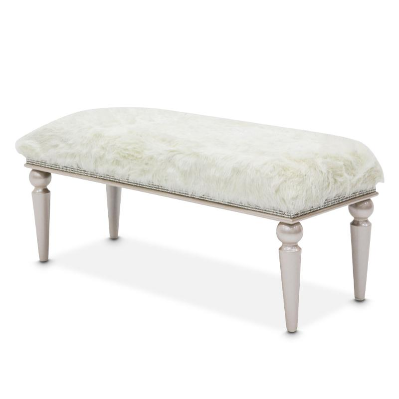 AICO Glimmering Heights Non-Storage Bed Bench in Ivory 9011904-111