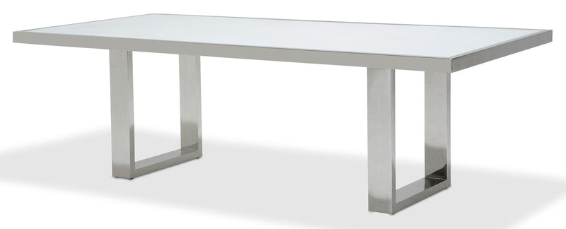 Aico State St Rectangular Dining Table with Glass Top in Glossy White 9016000-116