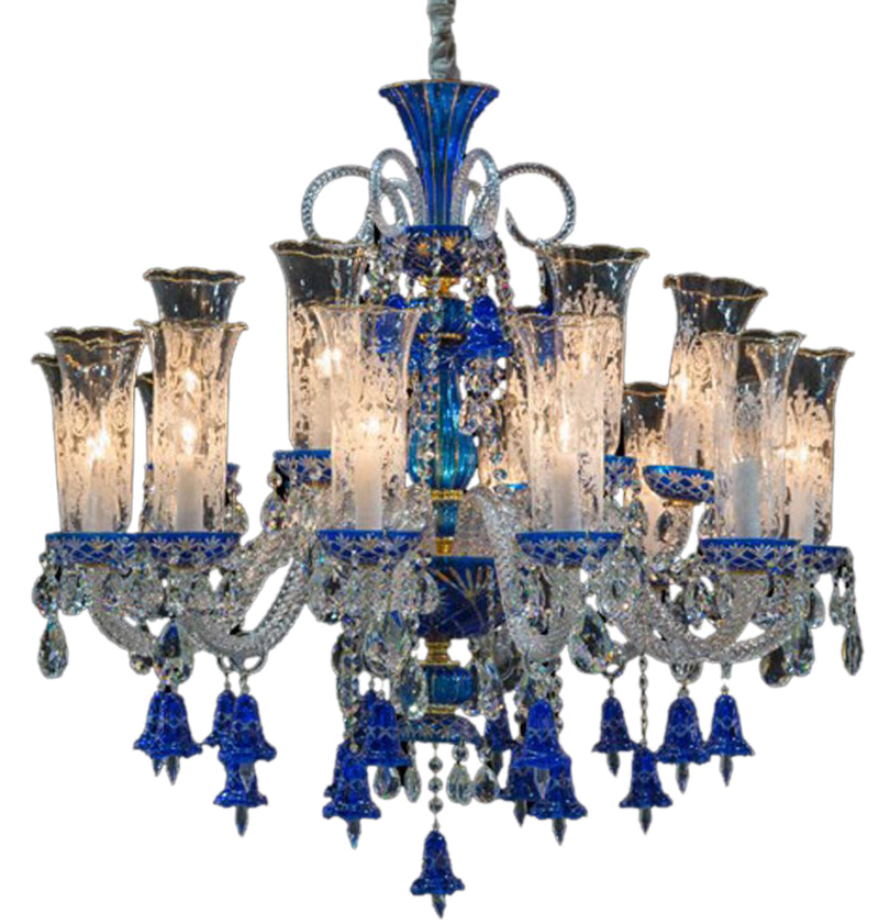 Aico Lighting Winter Palace 18 Light Chandelier in Blue, Clear and Gold LT-CH928-18GLD