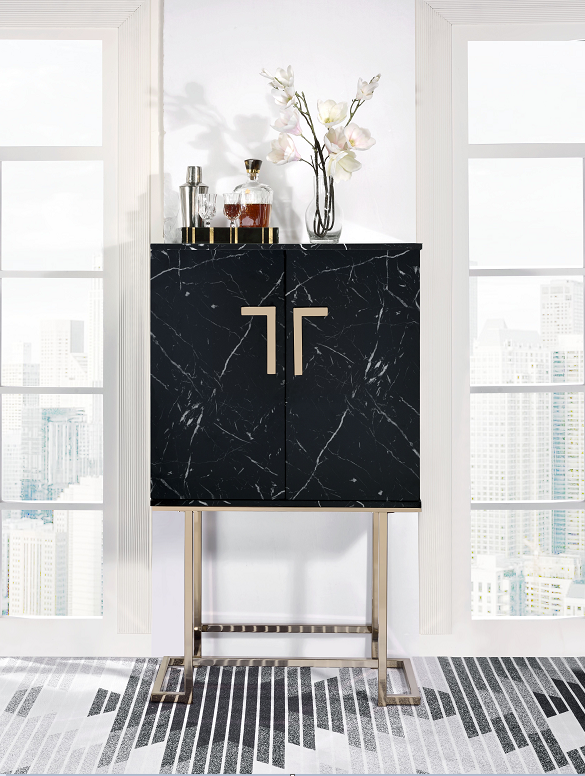 Hendrix Black Faux Marble & Champagne Wine Cabinet image