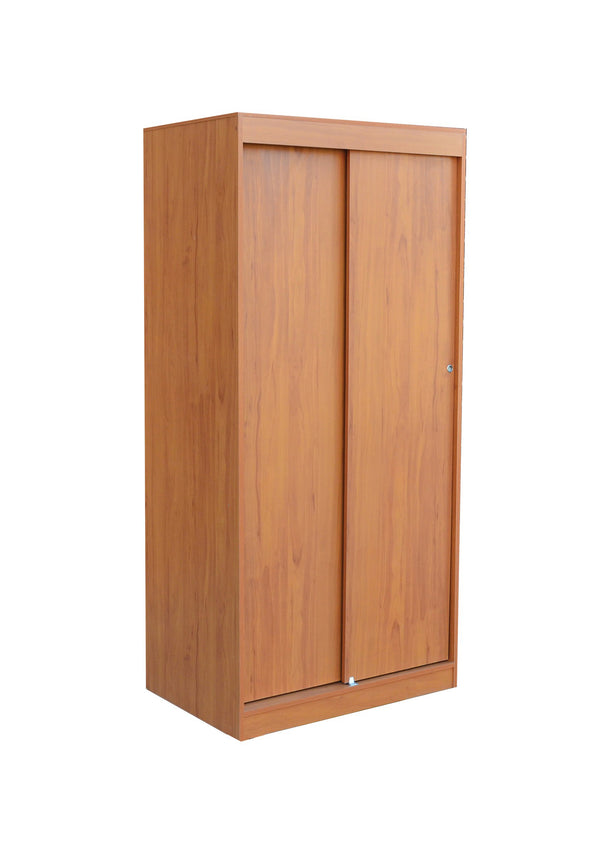 L-25 Brown Wooden Wardrobe w/ Sliding Doors