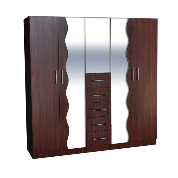 L-46ABC Dark Brown Wooden Wardrobe