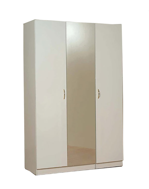 L-54 White Wooden Wardrobe w/ Full Mirrored Center Door