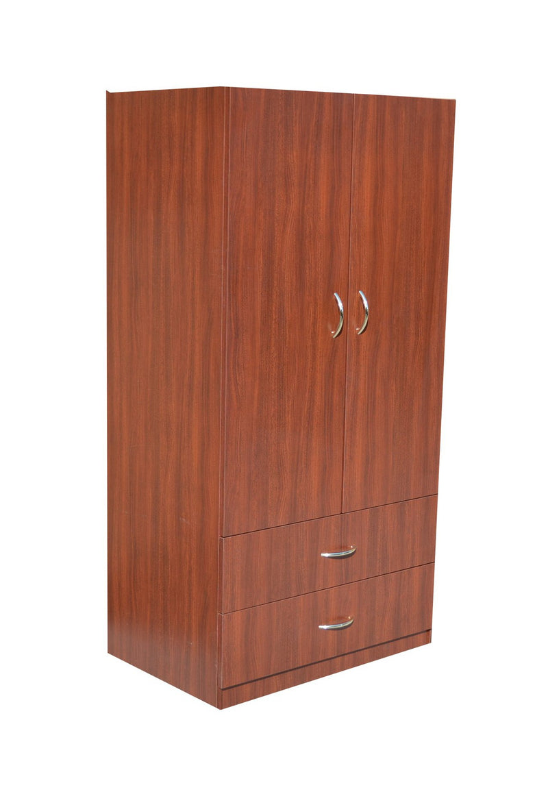 MCL-2 Brown Wooden Wardrobe w/ 2 Drawers on Bottom