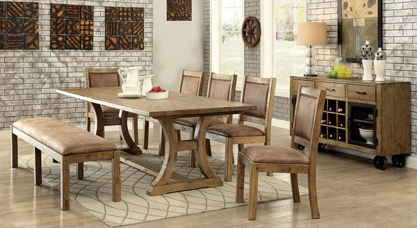 GIANNA Rustic Oak 6 Pc. Dining Table Set w/ Bench
