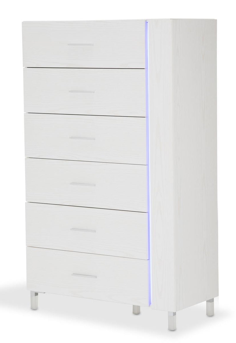 Aico Lumiere 6 Drawer Chest with LED Lights in Frost 9013670-104