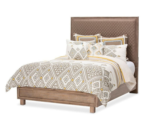 AICO Hudson Ferry Eastern King Diamond-Quilted Panel Bed in Driftwood (Brown Fabric) KI-HUDF014EKB-216