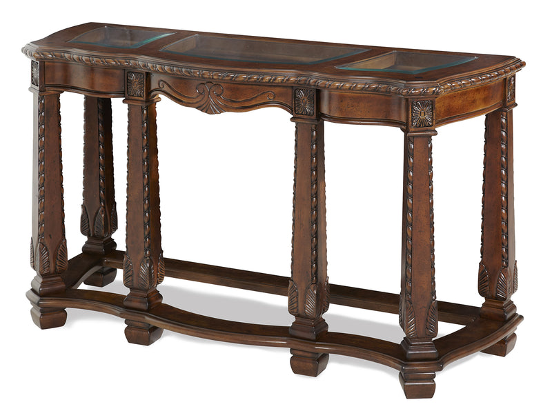 AICO Windsor Court Sofa Table in Vintage Fruitwood 70203-54