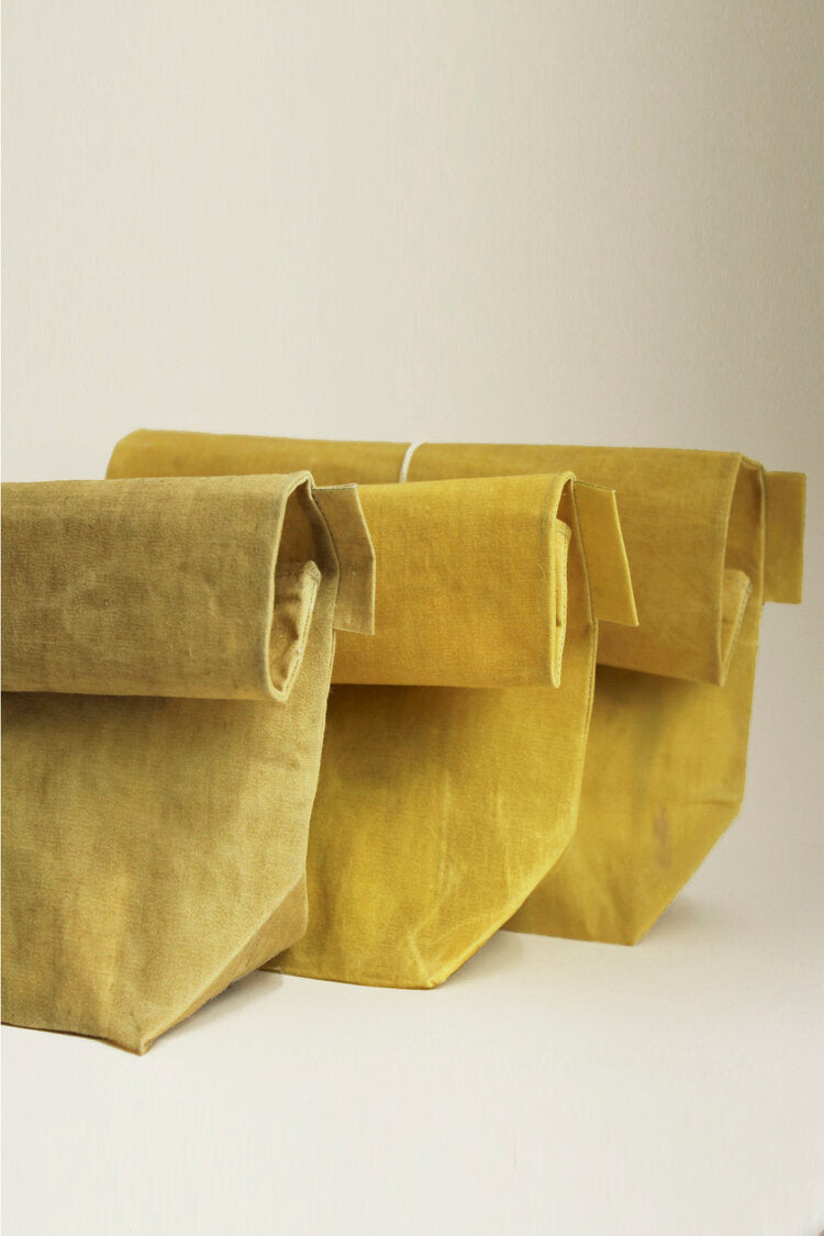 WAX Atelier Linen Roll Top Bag - Yellow