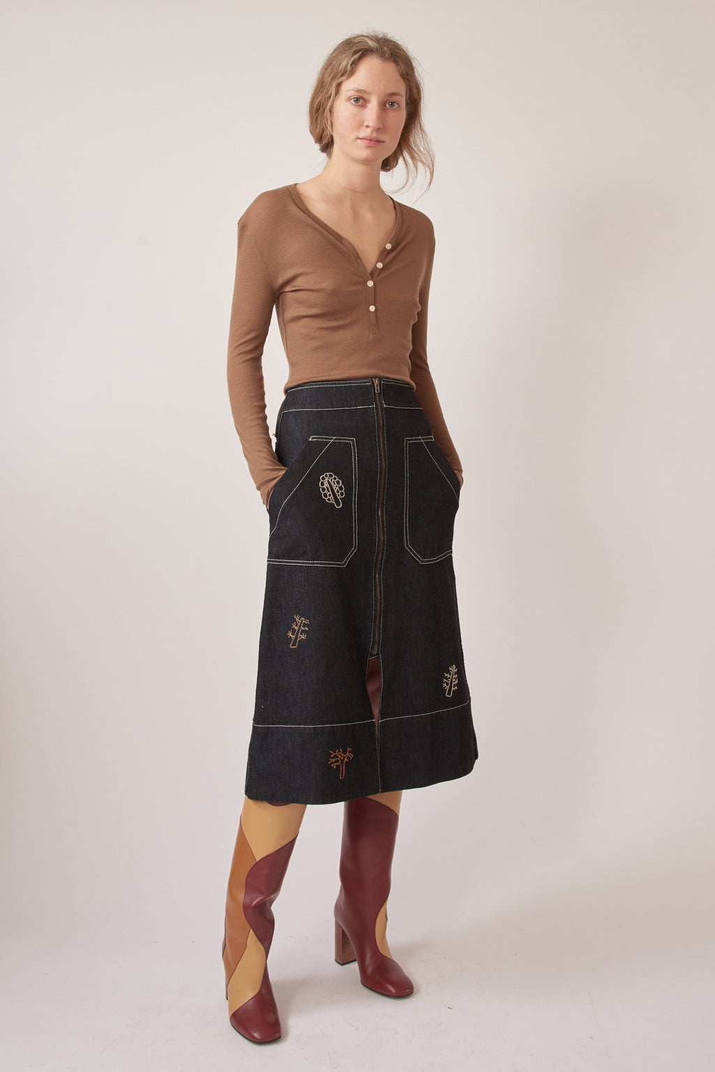 Re-Ssōne Oak A-line Skirt