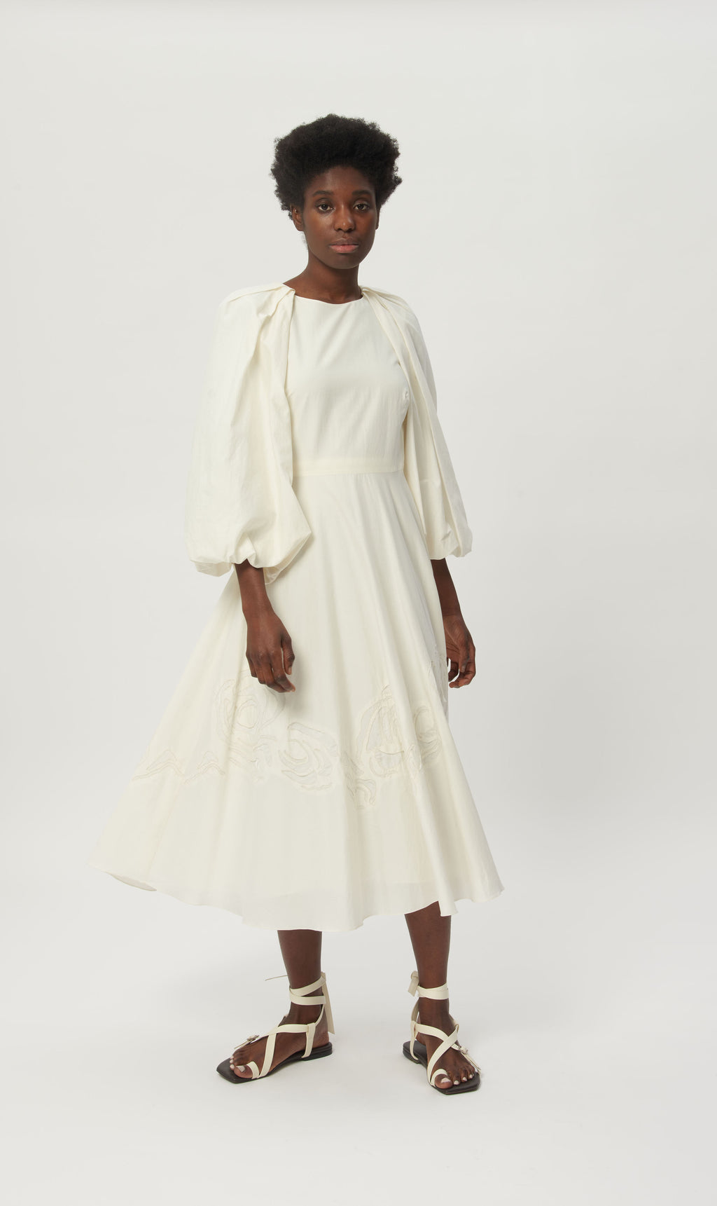 White Moon Dress, Embroidered