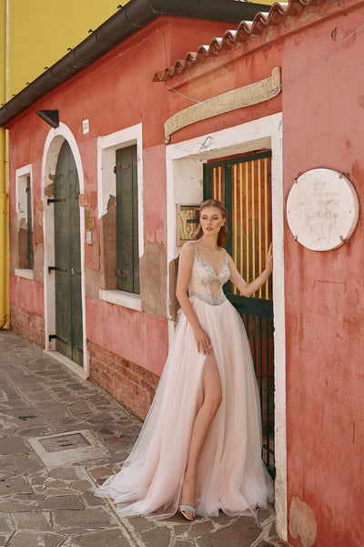 Penelope - Colored A-Line Wedding Dress with Tulle Slit Skirt