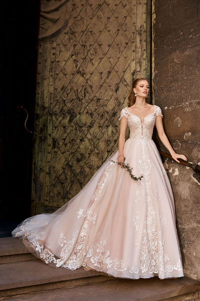 Rose - Blush Colored Ball Gown with Embroidered Lace Bodice