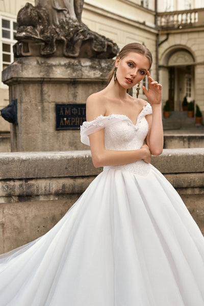 Mia - Off-the-shoulder Ball Gown with Embroidered Bodice
