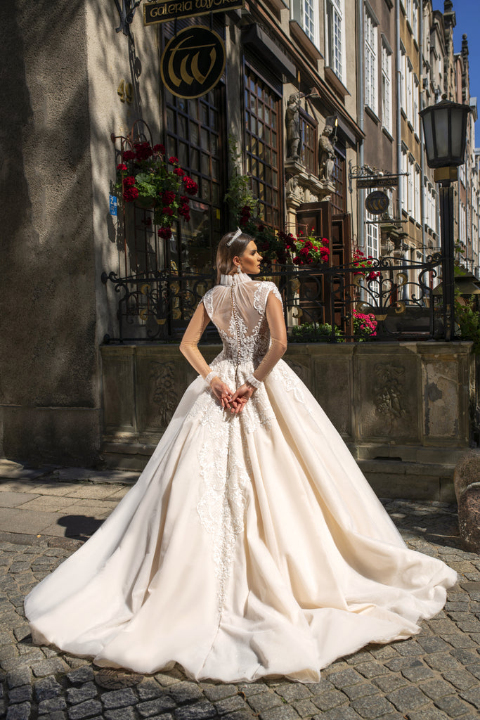 VALERIE - HIGH NECK LACE ROYAL INSPIRED BALL GOWN