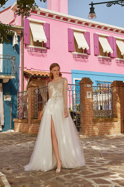 Adriana - Long Sleeve A-Line Wedding Dress with Tulle Slit Skirt - Maxima Bridal
