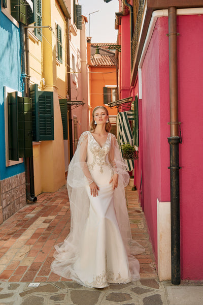 Irene - Crepe Sheath Wedding Dress with Tulle Cape - Maxima Bridal