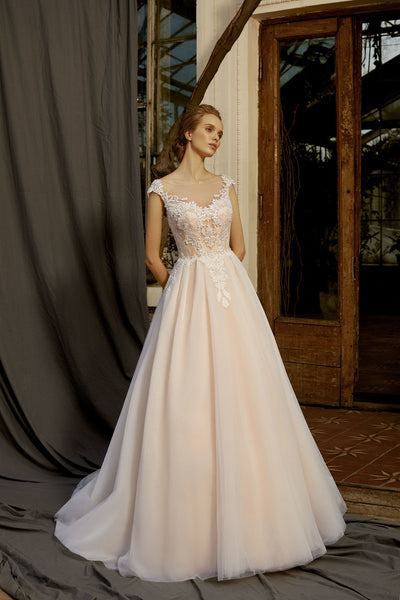 Estelle - Embroidered Bodice A-Line Wedding Dress - Maxima Bridal