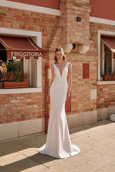 Valentina - Modern Crepe Sheath Wedding Dress with V-Neck - Maxima Bridal