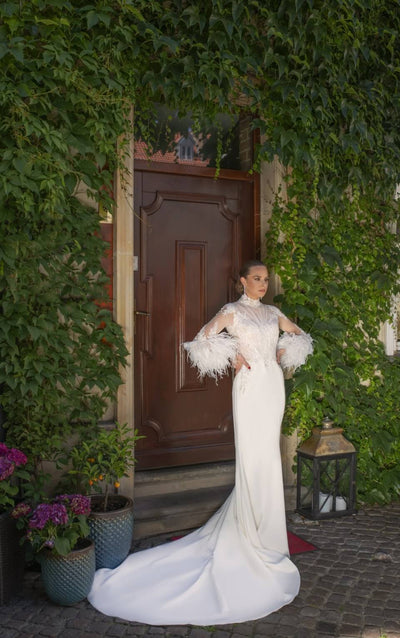 Marion - High Neck Feathered Sleeves Illusion Wedding Dress - Maxima Bridal