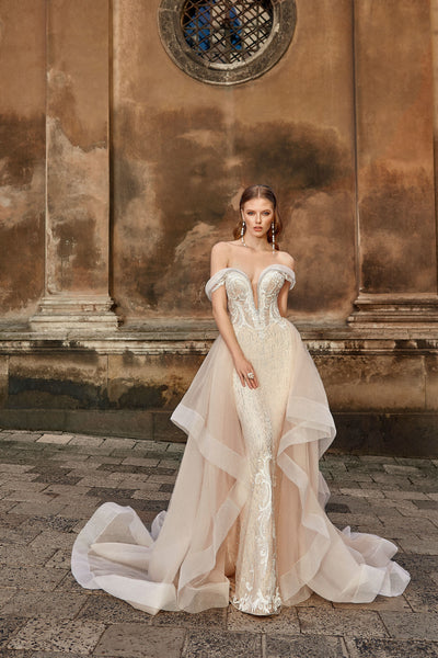 Brigitte - Off the Shoulder Sheath Wedding Dress with Detachable Train - Maxima Bridal