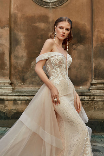 Brigitte - Off-the-shoulder Sheath Wedding Dress with Detachable Train