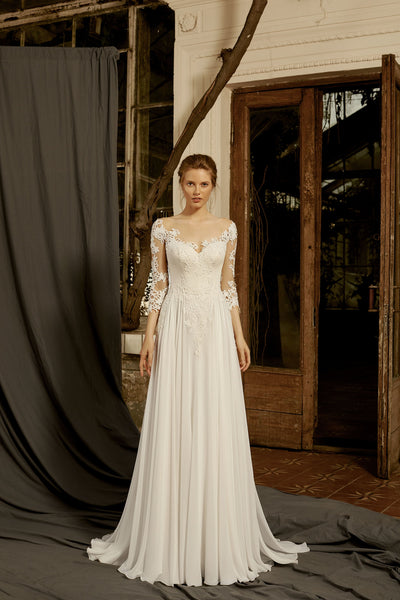 Camilla - Sheath Wedding Dress with Lace Sleeves - Maxima Bridal