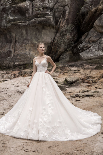 Elizabeth - Butterfly Lace Applique Ball Gown - Maxima Bridal
