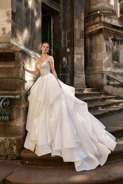 Aurora - Organza Ball Gown with Cap Sleeves and Ruffled Skirt - Maxima Bridal