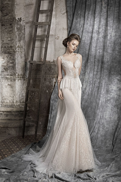 Margaret - Ruche Lace Sheath Wedding Dress - Maxima Bridal