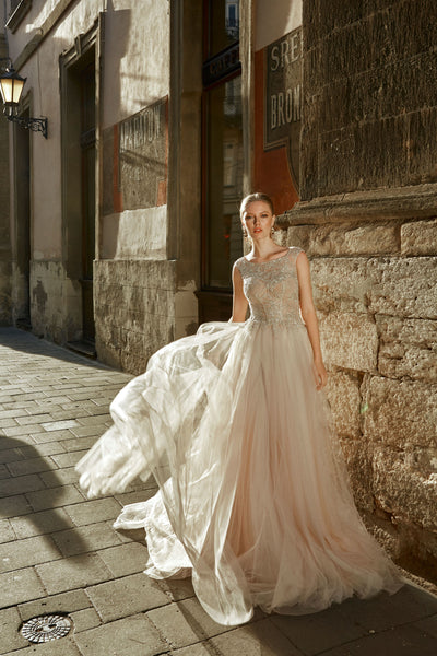 Serenity - Lace Applique A-Line Tulle Wedding Dress - Maxima Bridal