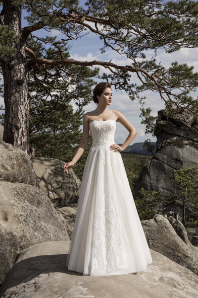 Catherine - Strapless A-Line Wedding Dress with Lace Applique - Maxima Bridal