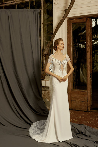 Violet - Sheath Wedding Dress with Frill Sleeves - Maxima Bridal
