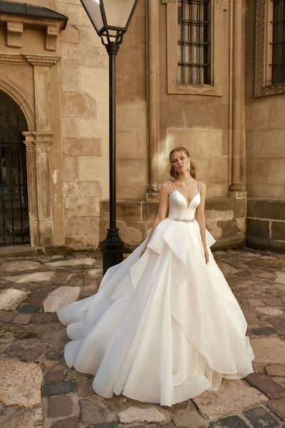 Lucia - Organza Ball Gown with Ruffled Skirt - Maxima Bridal