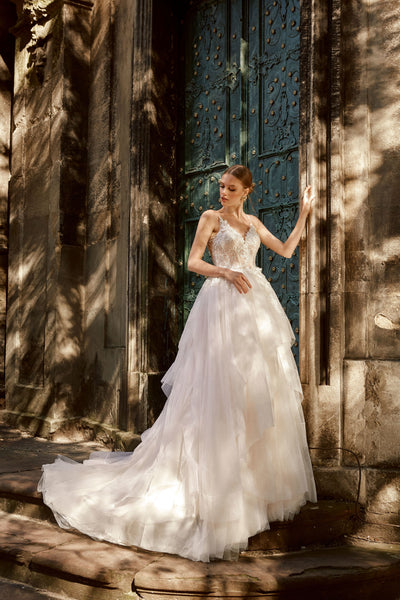 Sonia - Floral Lace Wedding Dress with Ruffled Skirt - Maxima Bridal