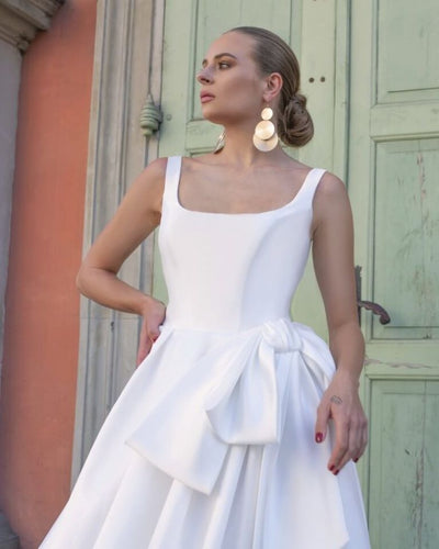 Hermione - Scoop Neckline Silk Ball Gown with Bow - Maxima Bridal