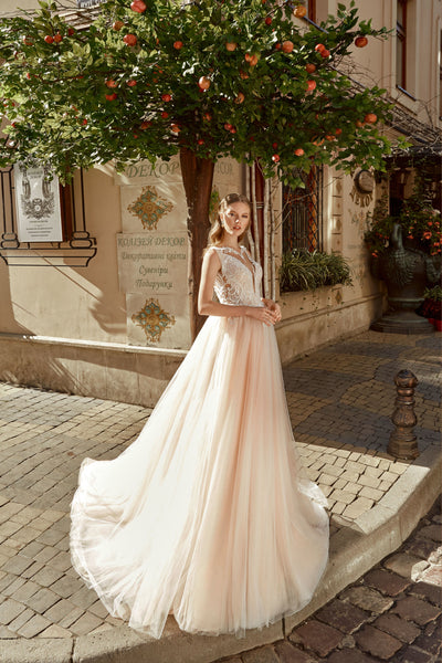 Anabel - Illusion Neckline A-Line Wedding Dress with Tulle Skirt - Maxima Bridal