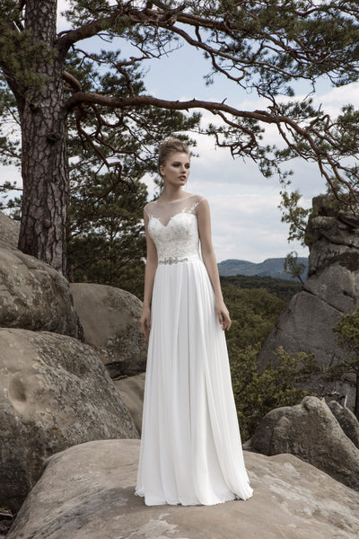Lana - Chiffon A-Line Wedding Dress with Illusion Neckline - Maxima Bridal