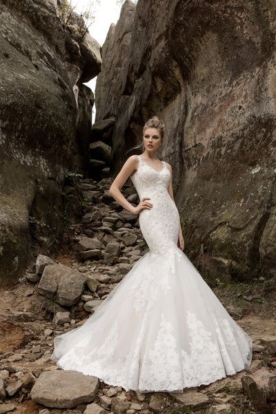 Rebecca - Floral Lace Mermaid Wedding Dress - Maxima Bridal
