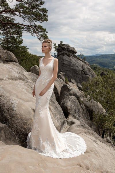Angela - Lace Mermaid Wedding Dress with V-Neckline - Maxima Bridal