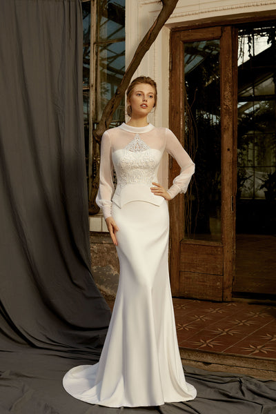 Claire - Strapless Sheath Wedding Dress with Removable Sheer Jacket - Maxima Bridal