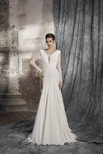 Lorenza - Long Sleeve Sheath Wedding Dress with Draped Bodice - Maxima Bridal