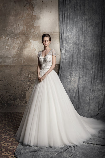 Gilia - Beaded Bodice A-Line Wedding Dress - Maxima Bridal