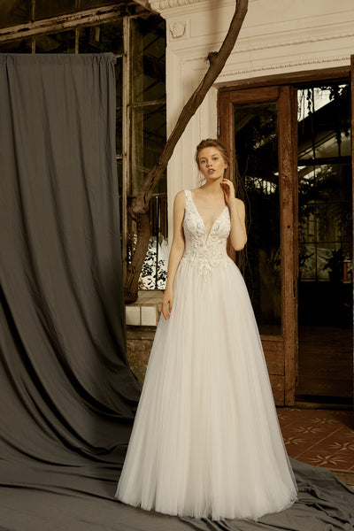 Athena - Tulle A-Line Wedding Dress with Plunging V-Neck - Maxima Bridal