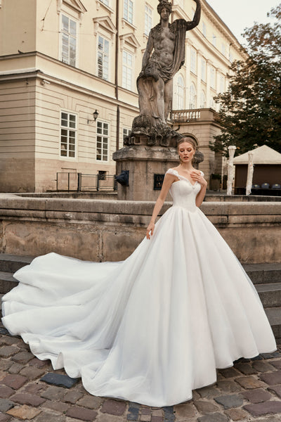 Mia - Off the Shoulder Ball Gown with Beaded Sweetheart Bodice - Maxima Bridal