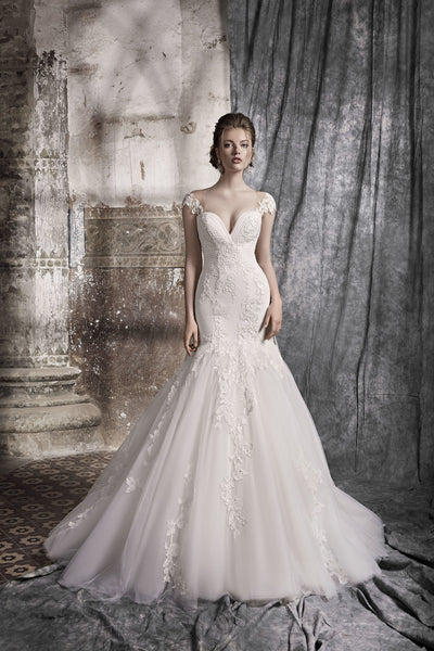 Anne - Mermaid Wedding Dress with Detachable Train - Maxima Bridal