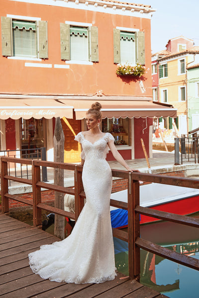 Jean - Corded Lace Trumpet Wedding Dress - Maxima Bridal