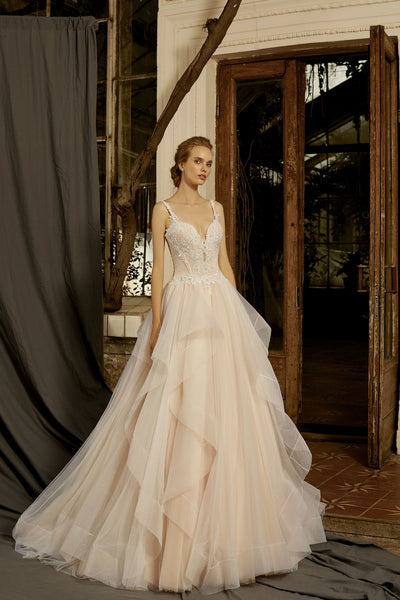Marianne - Beaded Bodice Ball Gown with Ruffle Skirt - Maxima Bridal