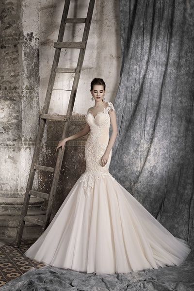 Agnese - Lace Applique Mermaid Wedding Dress with Illusion Back - Maxima Bridal