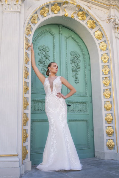 Clara - Plunging V-Neckline Wedding Dress with Detachable Train - Maxima Bridal